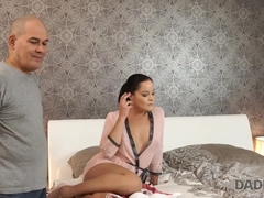 DADDY4K. Unsatisfied brunette seduces BF's daddy to please her needs