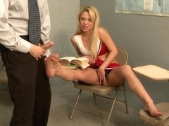 Blonde mistress plays with asian guy who masturbates