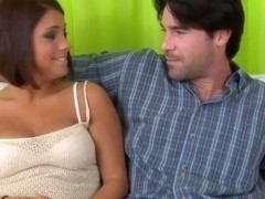 Hot being seduced by a handsome man and showing her beautiful boobs