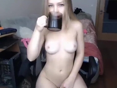Blonde plays with a vibrator and fucks with a guy