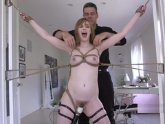 Brunette Hard Flogged While Kissing Cock