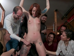 Alt redhead banged in group in public