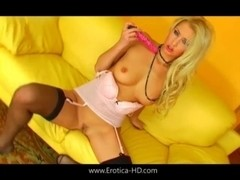Julie Silver plays with her toy