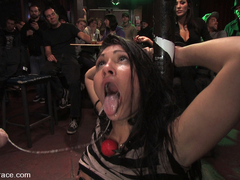 Beautiful Brunnette, Jade Indica, Is Bound And Fucked In A Crowded Bar - PublicDisgrace