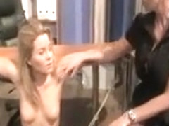 Blonde beauty gets smacked by her brunette dominanatrix