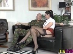 Mature brit fucks soldier