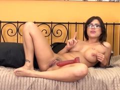Busty bitch Eva Angelina uses a dildo and vibrator at the same time to get off