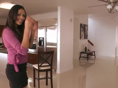 Amateur brunette Bethany Benz slow stripping