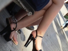 Candid junior girl with hot legs and high heels sandals