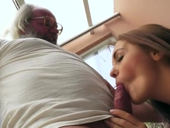 Old man bangs Dominica Fox's tight young pussy