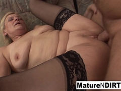 Old Grandma Takes A Pussy Pounding On The Couch - MatureNDirty