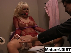Tied Up Blonde Babe Takes His Big Dick In Her Ass - MatureNDirty