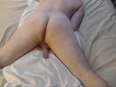 Spanking bubble butt with butt plug jacking off cum on chest