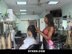Dyked - Straight Teen Girl Seduces By Hot Ebony Stylist