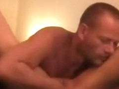 Strong dude loves fisting a naughty housewife's delicious snatch late night