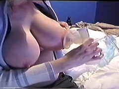 Pumping huge natural tits 2