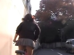 Asian girl on bicycle is flashing her panty up skirt FCHA-002