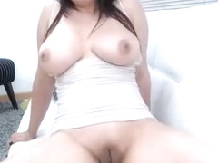 Solo breast bondage masturbation