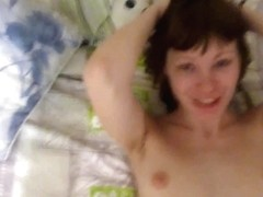Skinny short-haired brunette with small tits filled with cock