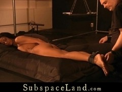 Horny Isabella Chrystin suspended in chaines and spanking!!