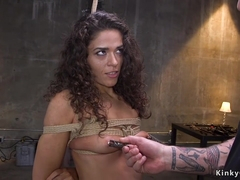 Small tits brunette in brutal bondage