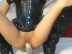 JC hot chick in leather