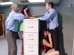 Ariana Marie and Isis Love share a cock while on work