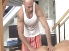 Hot sex with muscled gays covered in oil