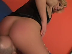Busty Blond Bimbo Creampied on Blue Sofa! :OPBK