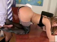 Cute bunny Blue Angel foot fucks Frank Major in office