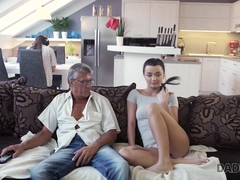 DADDY4K. Grey-haired old man with glasses fucks beautiful young girl