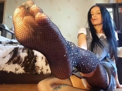 Hot russian smells her sexy pantyhose and stockings