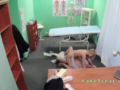 Blonde saleswoman fucked in fake hospital