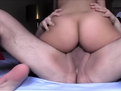 Geeky girl with big titties rubs her pussy and sucks dick