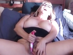Hairy mom joclyn with sexy glasses and lots of role play