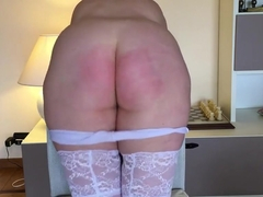 Severe belting red butt discipline with anal plug