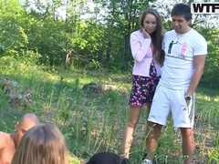 Hot Russian students enjoy fucking picnic!