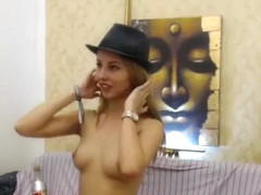 Hot Blonde Wears A Hat To Her Live Show