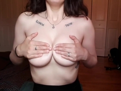 Big Titty Brunette Plays With Pierced Nipples