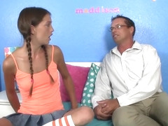 Young petite teen deepthroating older teacher