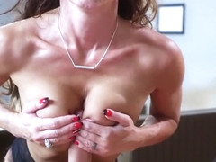 Brunette milf tittyfuck and cumshot
