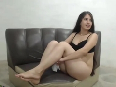 Sexy Long Haired Brunette Blowjob, Hardcore, Facial