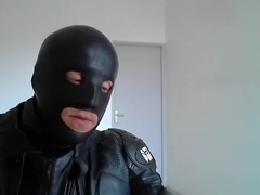 biker total leather mask rubber smoke cigare