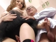 Youthful british ballerina sucks old chap jock