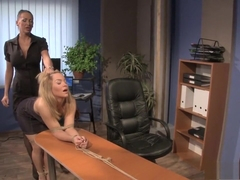 Slutty blonde secretary with big boobs explores her bondage fantasies