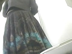 Hidden cam in wc shoots girl lifting skirt up above bowl