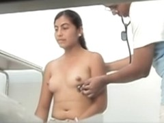 Asian woman got her nude tits spied in medical office