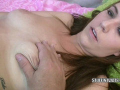 Redhead coed Alisha Adams copulates her snatch with a toy