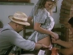 cute italian waitress banged by 3 workers