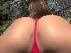 Busty goddess Madison Ivy demonstrates her huge charms in the backyard